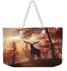 Weekender Tote Bag featuring the digital art A Moose In Fall by Daniel Eskridge