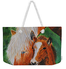 Weekender Tote Bag featuring the painting A Mothers Love by Leslie Allen