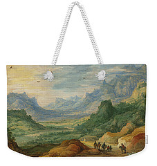 A Mountainous Landscape With Travellers And Herdsmen On A Path Weekender Tote Bag by Jan Brueghel and Joos de Momper