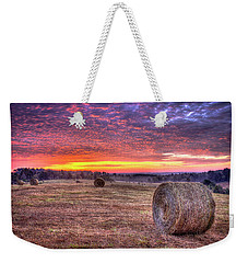 Weekender Tote Bag featuring the photograph Before A New Day Georgia Hayfield Sunrise Art by Reid Callaway