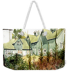 Watercolor Of An Old Wooden Barn Painted Green With Silo In The Sun Weekender Tote Bag