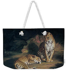A Pair Of Leopards Weekender Tote Bag by William Huggins