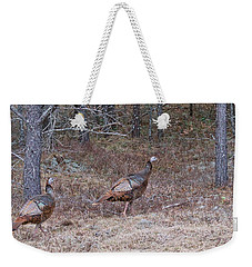 Weekender Tote Bag featuring the photograph A Pair Of Turkeys 1152 by Michael Peychich