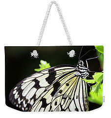 Weekender Tote Bag featuring the photograph A Paper Kite Butterfly On A Leaf  by Saija Lehtonen