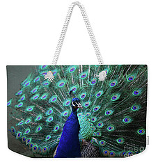 A Peacock With His Feather's Expanded Weekender Tote Bag by DejaVu Designs