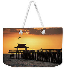 A Pelican Dive-bomb At The Naples Pier Naples Fl Weekender Tote Bag