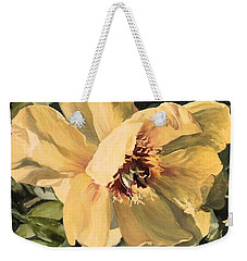 Weekender Tote Bag featuring the painting A Peony For Miggie by Laurie Rohner