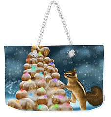 Weekender Tote Bag featuring the painting A Perfect Christmas Tree by Veronica Minozzi