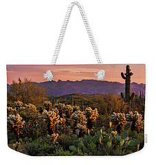 Weekender Tote Bag featuring the photograph A Pink Kissed Sunset  by Saija Lehtonen