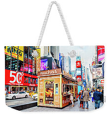 A Portable Food Stand In New York Times Square Weekender Tote Bag