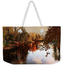 a quiet evening in a city Park painted in bright colors of autumn Weekender Tote Bag