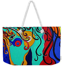 Weekender Tote Bag featuring the painting A Rainbow Called Romeo by Alison Caltrider