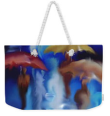 Weekender Tote Bag featuring the digital art A Rainy Day In Paris by Darren Cannell