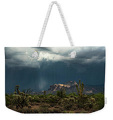 Weekender Tote Bag featuring the photograph A Rainy Evening In The Superstitions  by Saija Lehtonen