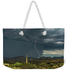 Weekender Tote Bag featuring the photograph A Rainy Sonoran Day  by Saija Lehtonen