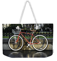 A Red Bicycle Near Jackson Square, New Orleans, Louisian Weekender Tote Bag
