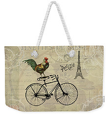 A Rooster In Paris Weekender Tote Bag by Peggy Collins