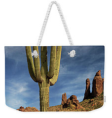 Weekender Tote Bag featuring the photograph A Saguaro In Spring by James Eddy