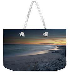 A Sandy Shoreline At Sunset Weekender Tote Bag