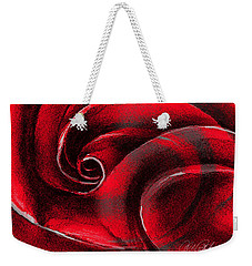 Weekender Tote Bag featuring the painting A Shape In Rose by Allison Ashton