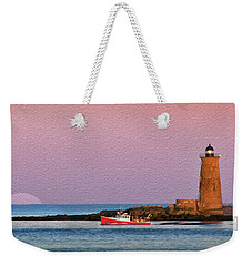 A Ship Passes The Super Moon And Whaleback Weekender Tote Bag