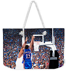 Weekender Tote Bag featuring the painting A Shot To Remember - 2008 National Champions by Tom Roderick