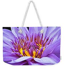 A Sliken Purple Water Lily Weekender Tote Bag