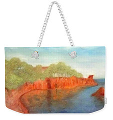 A Small Inlet Bay With Red Orange Rocks Weekender Tote Bag