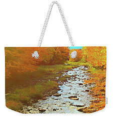 A Small Stream Bright Fall Color. Weekender Tote Bag