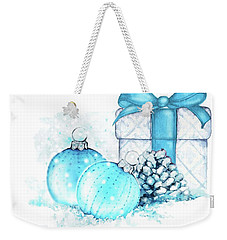 Weekender Tote Bag featuring the painting A Sparkly Blue Christmas by Heidi Kriel