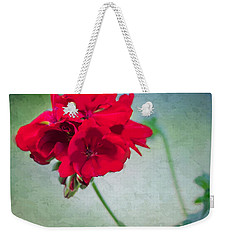 Weekender Tote Bag featuring the photograph A Splash Of Red by Betty LaRue