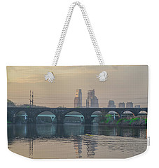 Weekender Tote Bag featuring the photograph A Spring Morning Rowing On The Schuylkill River by Bill Cannon