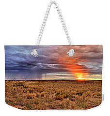 Weekender Tote Bag featuring the photograph A Stormy New Mexico Sunset - Storm - Landscape by Jason Politte
