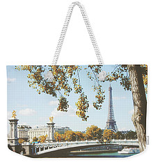 Weekender Tote Bag featuring the photograph A Stroll Along The River Seine In Paris by Ivy Ho