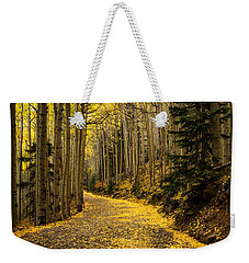 A Stroll Among The Golden Aspens  Weekender Tote Bag