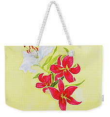 Weekender Tote Bag featuring the painting A Study Of Lilies by Dorothy Darden