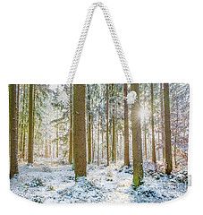 Weekender Tote Bag featuring the photograph A Sunny Day In The Winter Forest by Hannes Cmarits