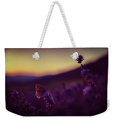 A Tale Of Butterfly, Lavender And Sunset Weekender Tote Bag