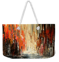 Weekender Tote Bag featuring the painting A Tale Of Two Cities by Tatiana Iliina