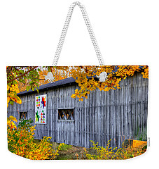 A Tale Of Two Pallettes - South Denmark Road Covered Bridge And Barn Quilt - Ashtabula County, Ohio Weekender Tote Bag