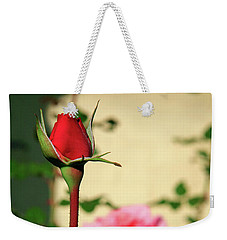 Weekender Tote Bag featuring the photograph A Tale Of Two Roses by Lon Casler Bixby