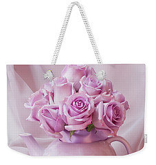 A Tea Pot Of Lavender Pink Roses  Weekender Tote Bag by Sandra Foster