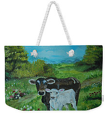 Weekender Tote Bag featuring the painting A Tender Love by Leslie Allen