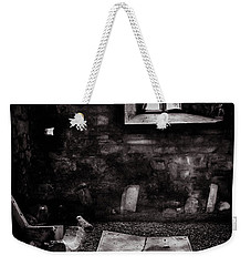 Weekender Tote Bag featuring the photograph A Tombstone In Sligo Abbey Bw by RicardMN Photography