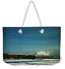 Weekender Tote Bag featuring the painting A Train Pulling Out Of The Freight House by Artistic Panda