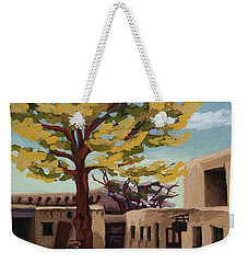 Weekender Tote Bag featuring the painting A Tree Grows In The Courtyard, Palace Of The Governors, Santa Fe, Nm by Erin Fickert-Rowland