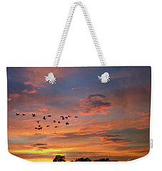A V Takes Shape At Sunrise Weekender Tote Bag by Kathy M Krause