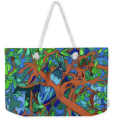 Weekender Tote Bag featuring the painting A Very Pretty Peacock In A Pear Tree by Denise Weaver Ross