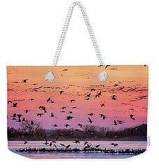Weekender Tote Bag featuring the photograph A Vibrant Evening by Susan Rissi Tregoning