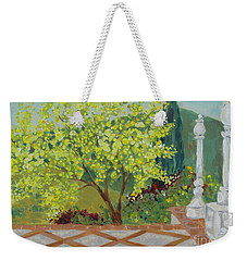 Weekender Tote Bag featuring the painting A View From Hearst Castle by Maria Langgle